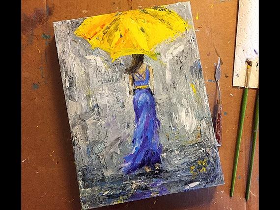 "Umbrella Girl - Untitled - 16""x12""- Acrylic on Canvas"