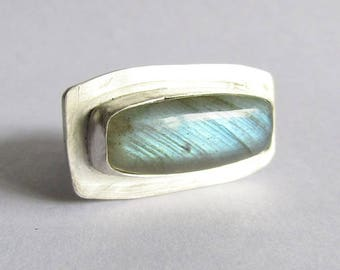 Labradorite Statement Ring - Size 9 Labradorite Ring - Modern Ring - 25th Anniversary Gift - Statement Jewelry