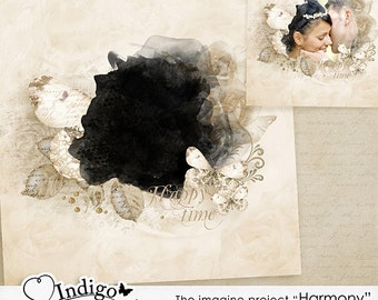 Photoshop Collage Template for Photographers - Wall Art Template Harmony Vol2  - Digital Scrapbook Template , D010 - INSTANT DOWNLOAD
