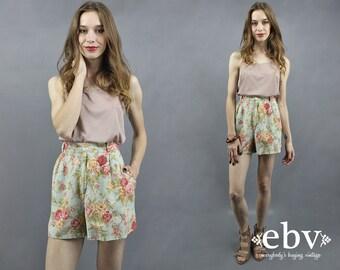 Linen Shorts Floral Shorts High Waisted Shorts High Waist Shorts Floral Linen Shorts 90s Shorts 1990s Shorts Mom Shorts L XL