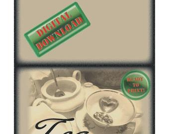 Tea Note Card Printable Black White Tea Set Heart Tea Strainer Blank Bridal Shower Mother Daughter Invitation Greeting Folding Stationery