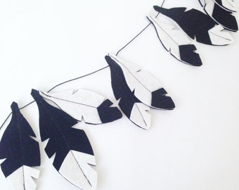 Monochrome garland, Black and White Feather Garland, black and white nursery, scandinavian nursery, baby boy nursery decor, baby wall decor