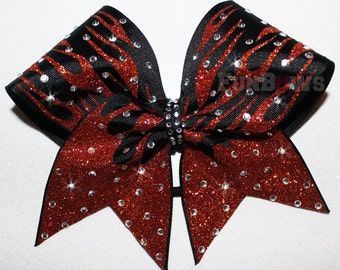 FLAMES  in Glitter Rhinestone  Cheer Bow  by FunBows !