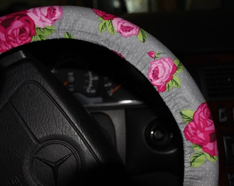 Steering Wheel Cover , Pink Flowers Wheel Cover . Car Accessories. Girls Wheel Cover .