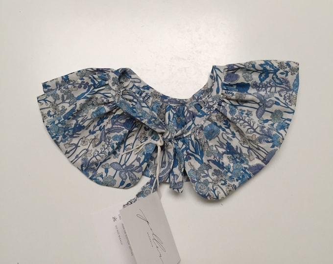 LIBERTY RUFFLE Collar Liberty Art Fabric Flowers A (blue) Children and Women's sizes