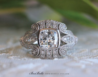 2.30 ct.tw Art Deco Engagement Ring-Vintage Filigree-Cushion Cut Diamond Simulants-Bridal Ring-Anniversary Ring-Sterling Silver [1953]