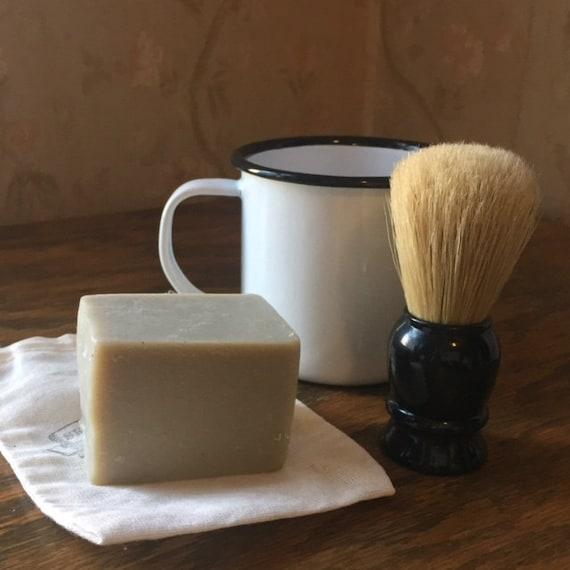 Shaving soap with bay, eucalyptus, fir, cedar wood and goat milk
