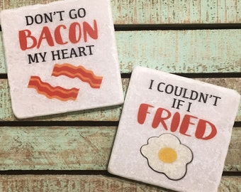 Bacon & Egg Coasters, Set of 2, Tumbled Marble, Funny, Puns, Food, Housewarming, Wedding, Engaged, Home, Favors