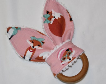 Pink Fabulous Foxes Rabbit Ears Wooden Teething Ring
