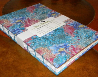 Medium Blue & Pink Asian Floral Print Fabric Covered Coptic Stitch Bound Lined Journal 6x8 inch