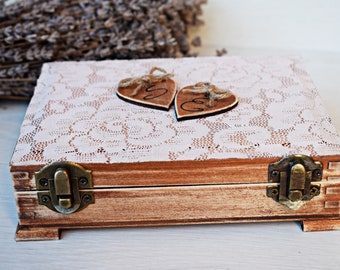 Personalized wedding ring box, custom wedding box, floral wedding ring box, rustic bearer, burlap butterflies ring box, wedding decor pillow