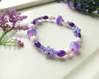 Purple and White Beaded Bracelet with Purple Flowers, Medium Girls Bracelet, GBM 112