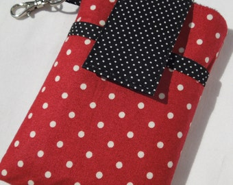 cell phone sleeve cover pouch, cell phone case, smart phone sleeve case - Red White Dot