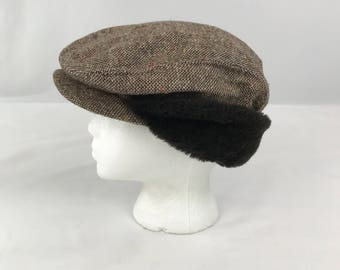 Vintage Newsboy Cap, Tweed Newsboy Cabbie Hat Size Medium Union Made, Brown Tweed Cabbie Hat Faux Fur Trim, 1950s Driving Hat,New Old Stock