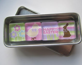 EASTER Refrigerator Magnets, Easter Decorations, Fridge Magnets, Holiday Decor, Easter Bunny, Easter Egg, Magnets with Storage Tin