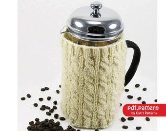 Cable Stitch Cafetière/French Coffee Press Cosy Downloadable knitting pattern