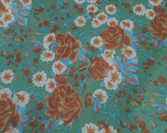 Vintage Green With Brown Blue Flowers Floral Polyester Nylon Feel Fabric 60 x 90
