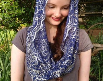 Royal blue and silver Catholic lace infinity mantilla veil