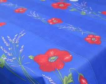 """Rectangular tablecloth. Stain resistant and water proof.Width is 57"""" max. Fabric from Provence, France. Lavender and poppies in blue"""