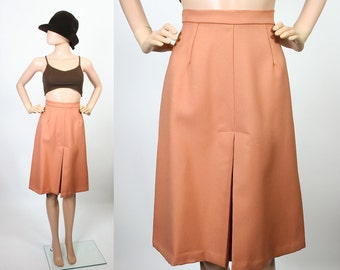 Vintage A-line High Waisted Skirt / 70s Pleated Skirt / 1970s High Waisted Skirt / Clay / Terracotta / Small / Extra Small