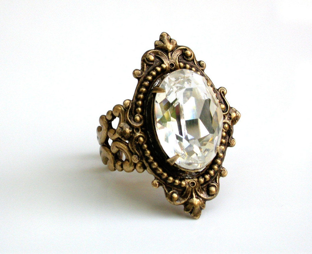 Victorian Swarovski Ring Cocktail Ring Bridal Ring