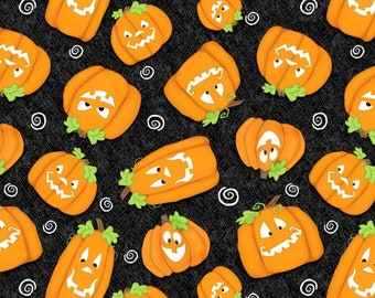 Chills and Thrills Glows in the Dark Orange Pumpkins on Black