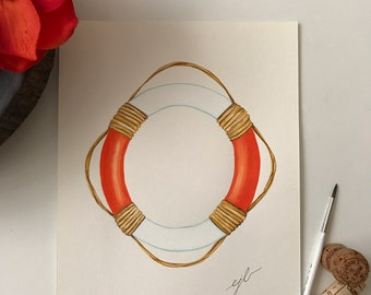 """Orange lifesaver. An original watercolor painting on 90 lb. cold press paper. Size 9""""x 12"""" signed on front."""
