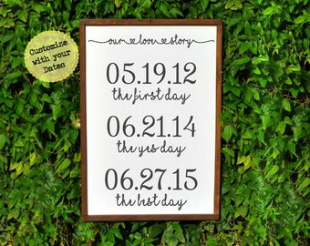Our love Story, Bridal Shower Gifts for Bride, The First Day, The Yes Day, The Best Day, Personalized Wedding Gifts for Couples, Rustic Home
