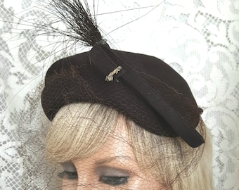 Brown Wool Hat /Wool Felt Hat / Hat with Feather / Ladies Felt Hat / Henry Pollak Inc / Glenover Hat