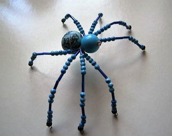 Spider Beaded, Cobalt Blue,Aqua Blue,Black.