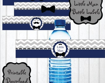 Little Man Themed Printable Water Bottle Labels, Little Man Baby Shower Decorations, Little Man Birthday Party