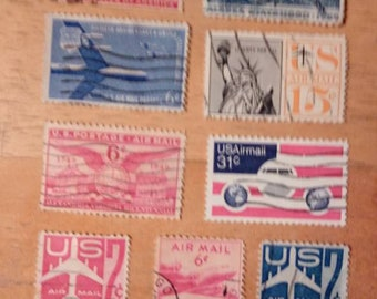 9 U.S. Airmail Stamps Mixed Lot ,Stamp Collectible,Airplane Collectible