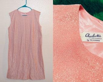 M/L Vintage 60s Pink Glitter Dress