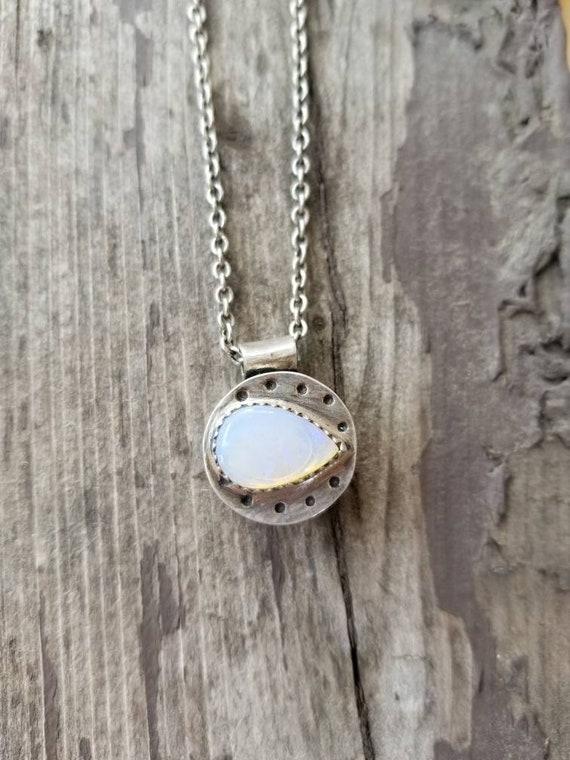 Handmade Sterling Hollow-form Australian Lightning Ridge Opal Necklace, Opal Statement Pendant