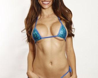 Bitsy's Bikinis Blue/Green Mermaid Sexy Tie Side Thong Bikini 2pc Mini Micro Bottom Triangle Top Blue String Extreme Swimwear
