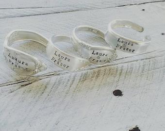 Silver Napkin Rings, Napkin Rings, Silverware Rings,  Personalized Napkin Rings,Set of 4, Wedding gift, bridal shower
