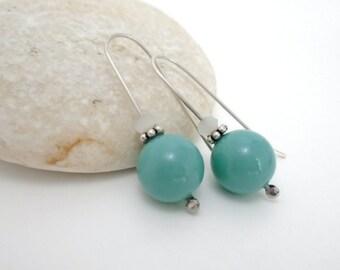 Blue jade  Swarovski pearl  open hoop minimal earrings, drop,  opaque white crystal, medium long earrings, sterling silver, bride, wedding