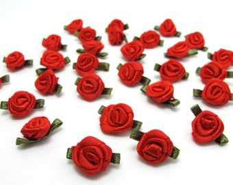 100 Pieces Red Satin Rose Flower Buds with Leaf Loop|Solid Color|Flower Applique|Fabric Flower|Baby Doll|Craft Bow|Accessories Making