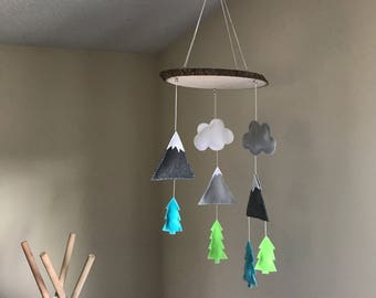 Felt Mountains pinetrees clouds baby mobile nursery decor