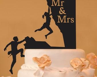 Rock Climbing couple Mr. & Mrs. wedding cake topper - rock climbing wedding cake topper -  rock climbers wedding cake topper