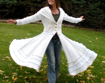 SALE: Ghosts Upcycled Sweater Coat, Ready to Ship, gypsy coat, festival jacket, elf wear, Medium/Small