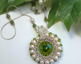 Rivoli Beadwoven Beaded beadweaving Beadwork Necklace Pendant Golden Green  Unique Jewelry Spring Grass