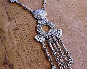 Silver necklace, ethnic jewelry, boho bib necklace, long silver necklace, gypsy jewelry, statement necklace, tribal necklace, silver jewelry