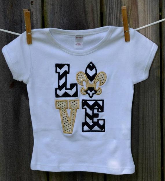 Personalized Love New Orleans Saints Football Applique Shirt