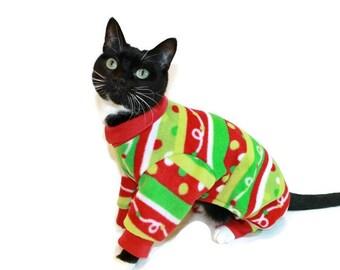 Christmas Cat Pajamas-Cat Clothes-Pajamas for Cats-Christmas Fleece Cat Pajamas-Cat Clothing-Pet Clothes-Clothes for Cats-Cat Onesie