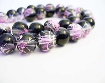 Glass  Beads Transparent Black and Pink Round 10MM