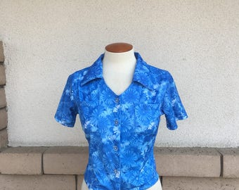 90s Cropped Top Blue Gerbera Daisy Print Button Up Collared Top Size XS-S