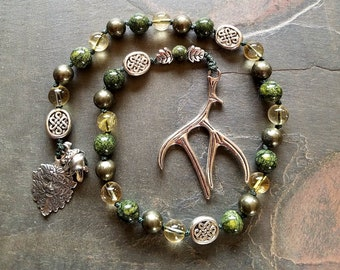 Cernunnos the Horned God, Pagan Prayer Beads, Greenman, Guardian of the Green World, Witches Ladder, Meditation Beads