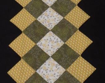 Yellow Floral Quilted Table Runner