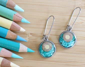 Colored pencils recycled into round earrings, pewter and resin